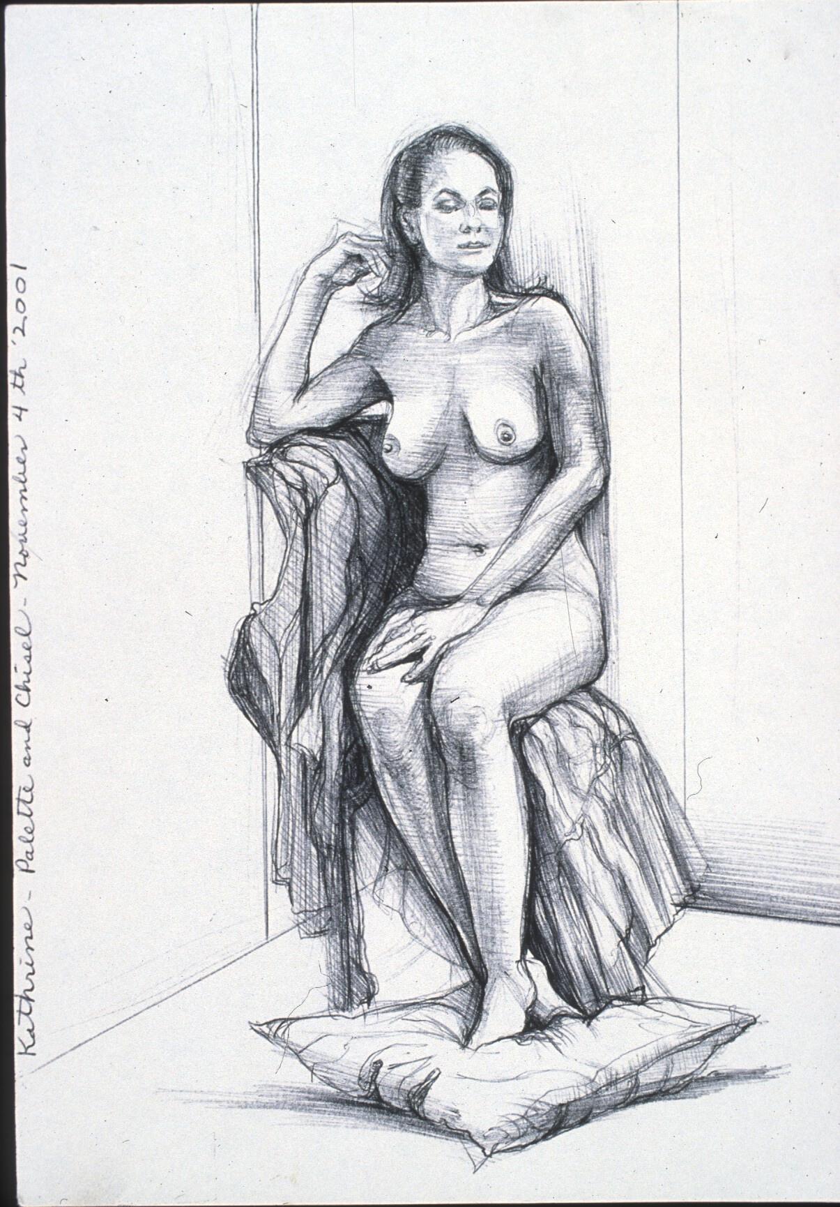 """Lou Ann Burkhardt  Kathrine  , 2001 Pen and ink on paper 11"""" x 14"""", framed $375"""