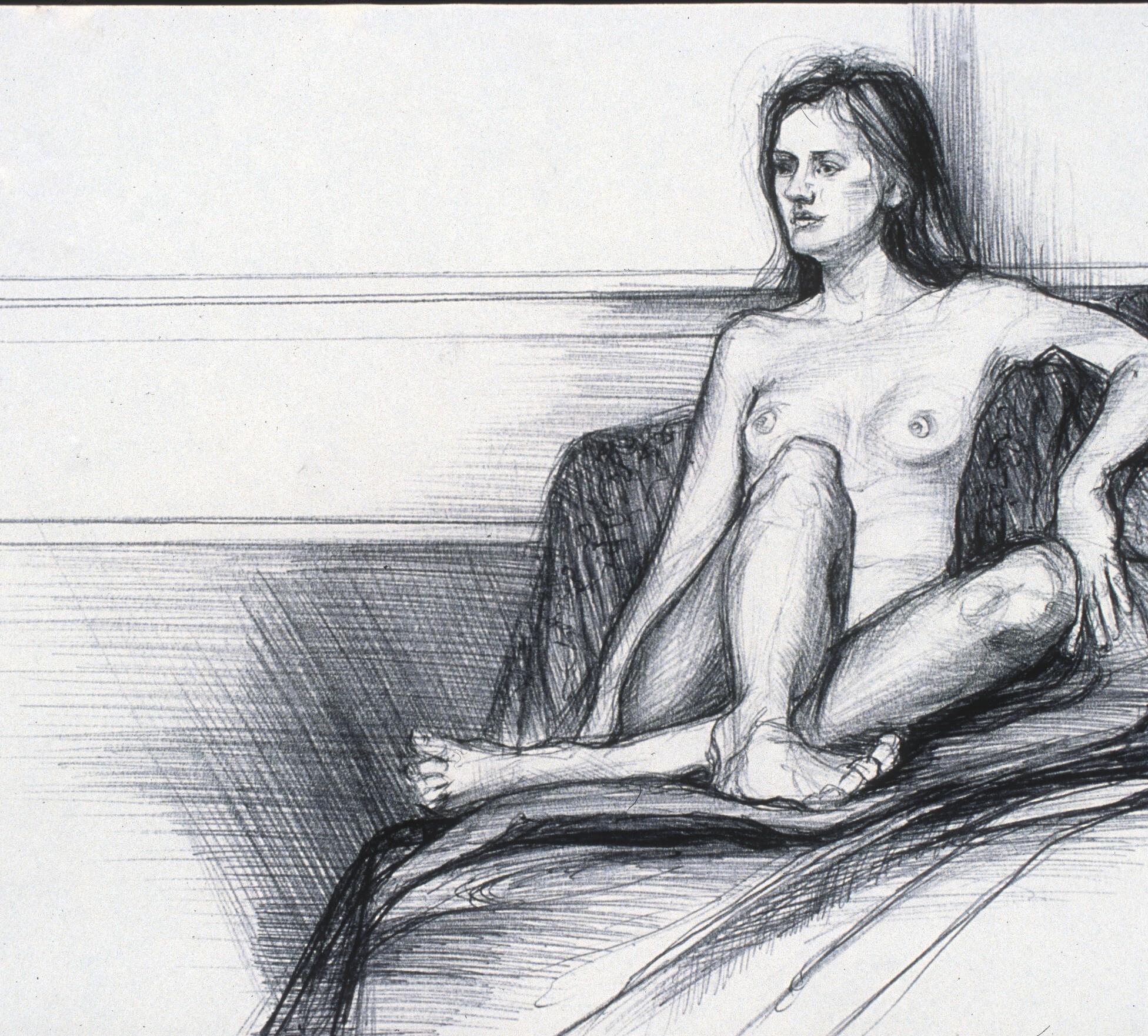 """Lou Ann Burkhardt  Annika  , 2001 Pen and ink on paper 11"""" x 14"""", framed $325"""