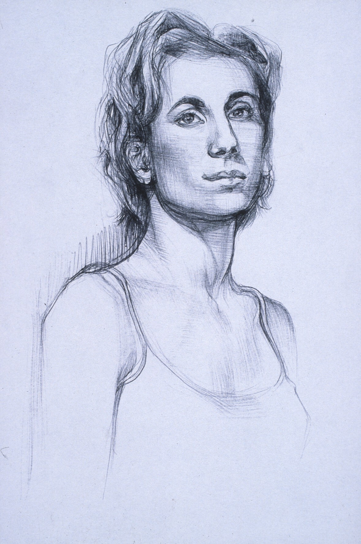 """Lou Ann Burkhardt  Nadine  , 1999 Pen and ink on paper 13"""" x 16"""", framed $385"""
