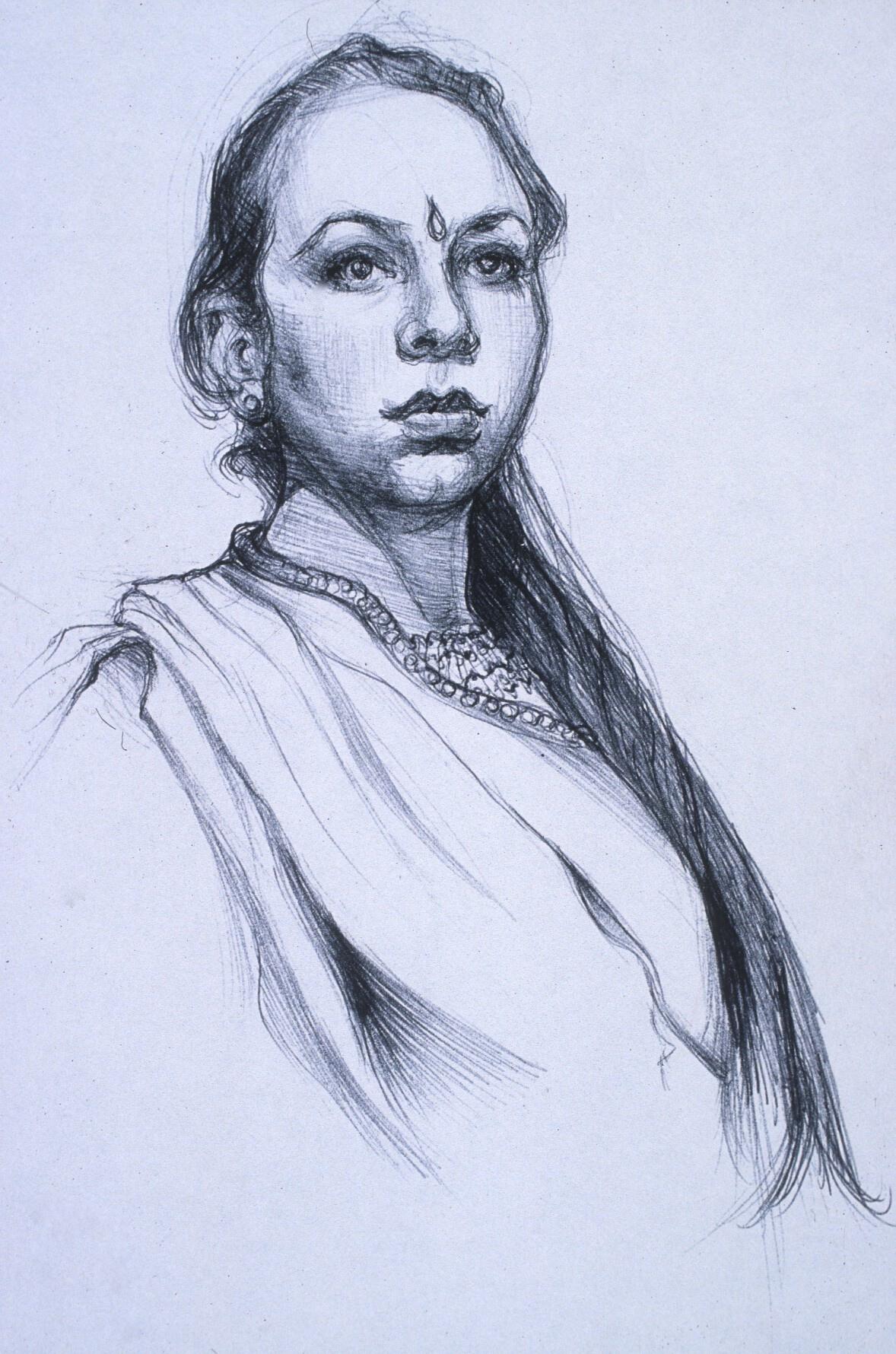 "Lou Ann Burkhardt  Lorena  , 1999 Pen and ink on paper 11"" x 14"", framed $345"