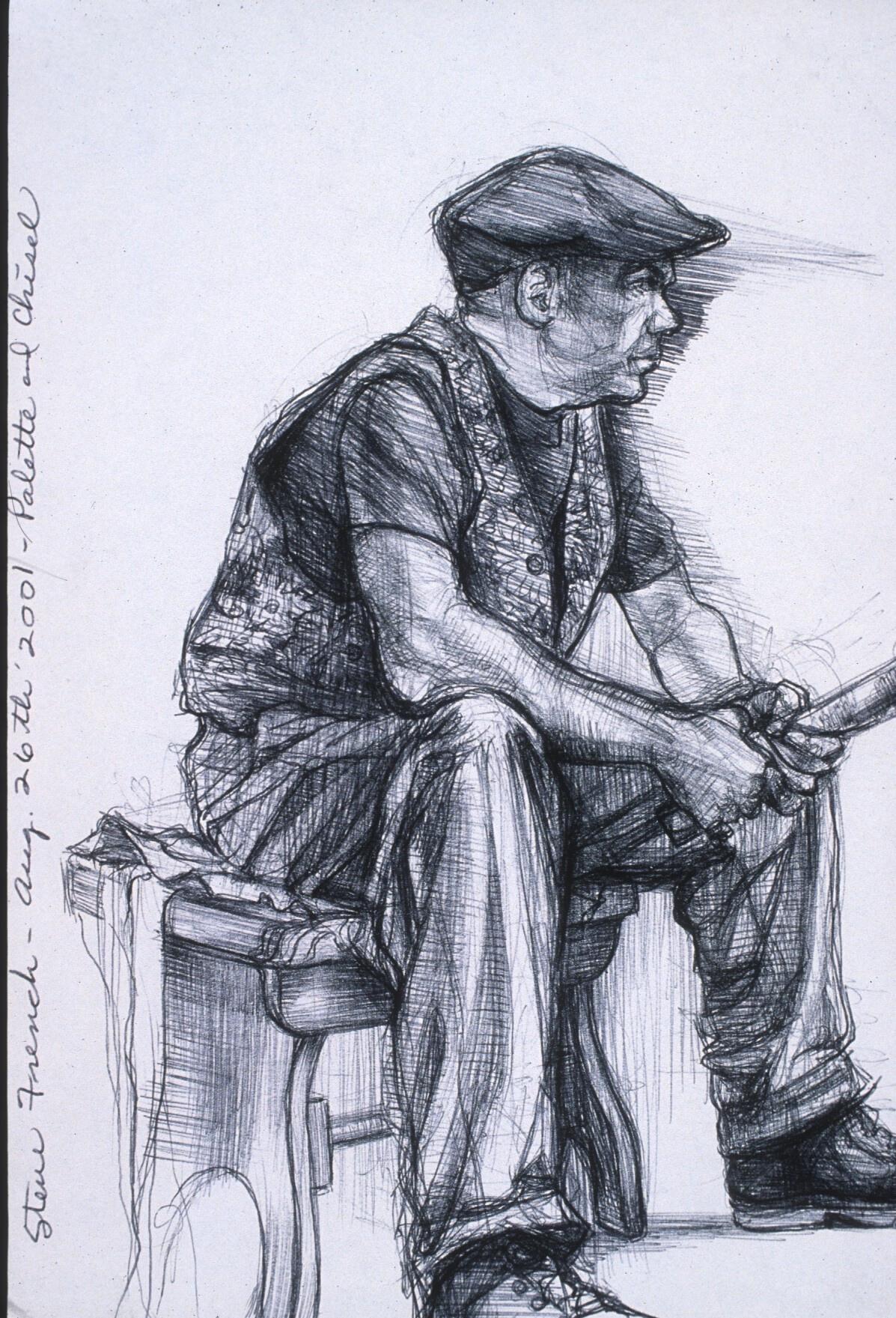 """Lou Ann Burkhardt  Steve  , 2001 Pen and ink on paper 13-1/2"""" x 16-1/2"""", framed $398"""