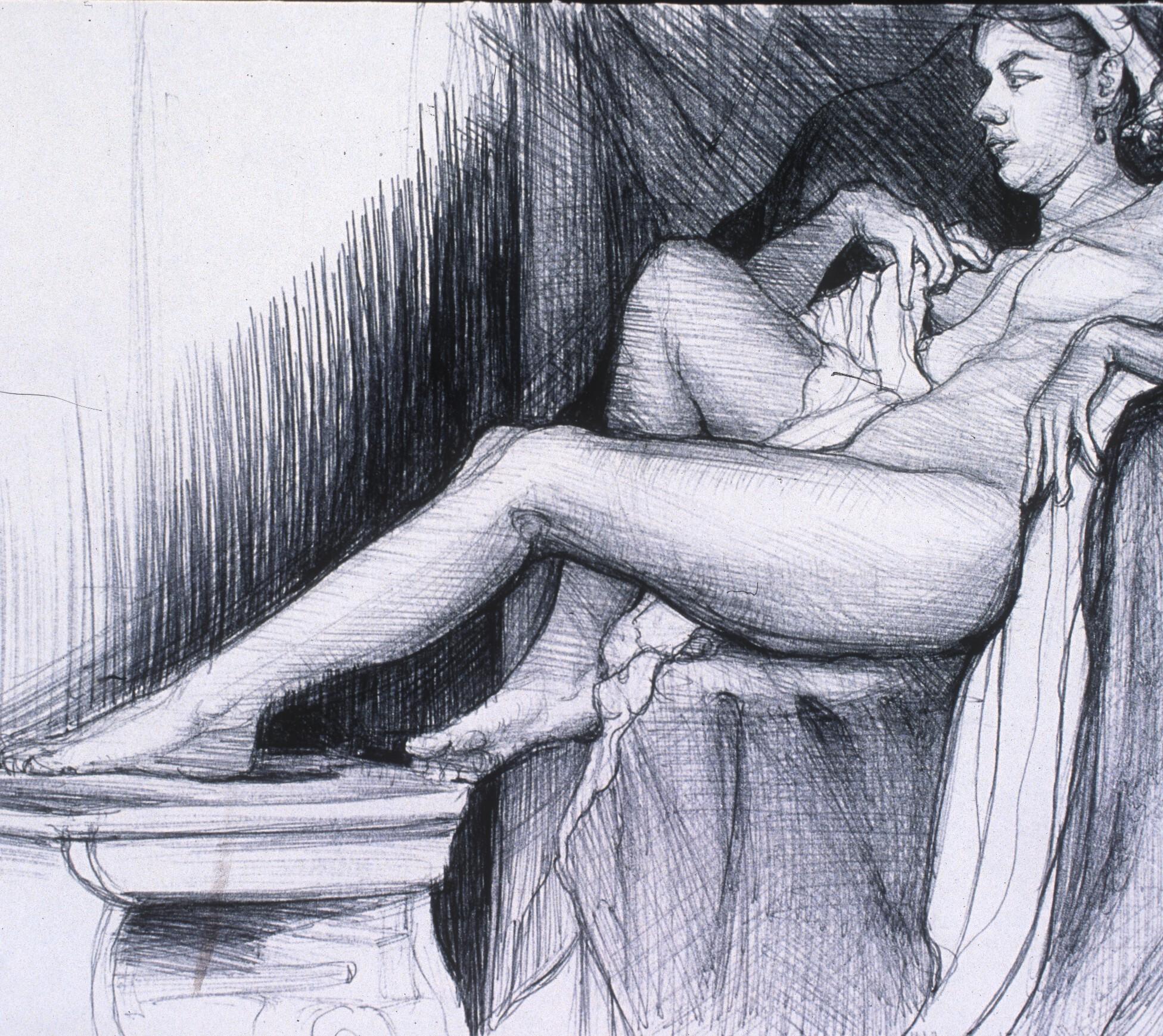 "Lou Ann Burkhardt  Robin Reclining  , 2001 Pen and ink on paper 13-1/2"" x 16-1/2"", framed $395"