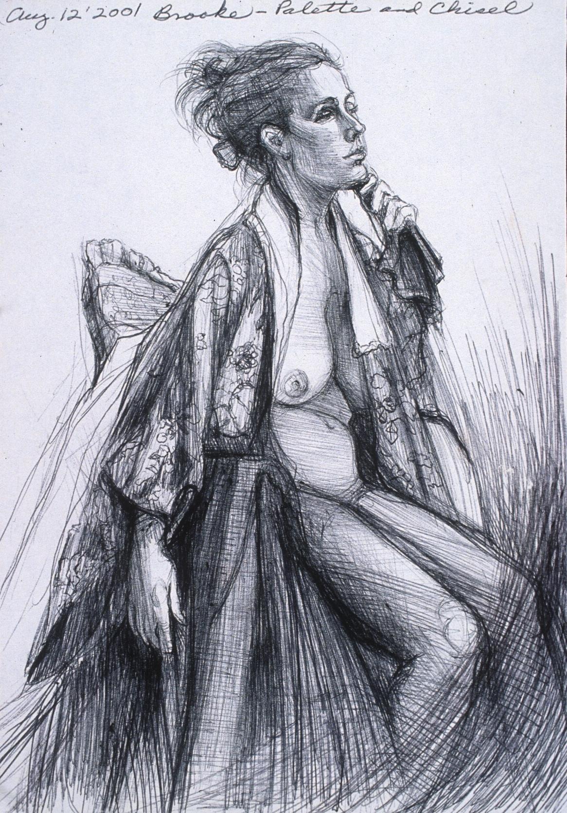 "Lou Ann Burkhardt  Brooke  , 2001 Pen and ink on paper 13-1/2"" x 16-1/2"", framed $395"