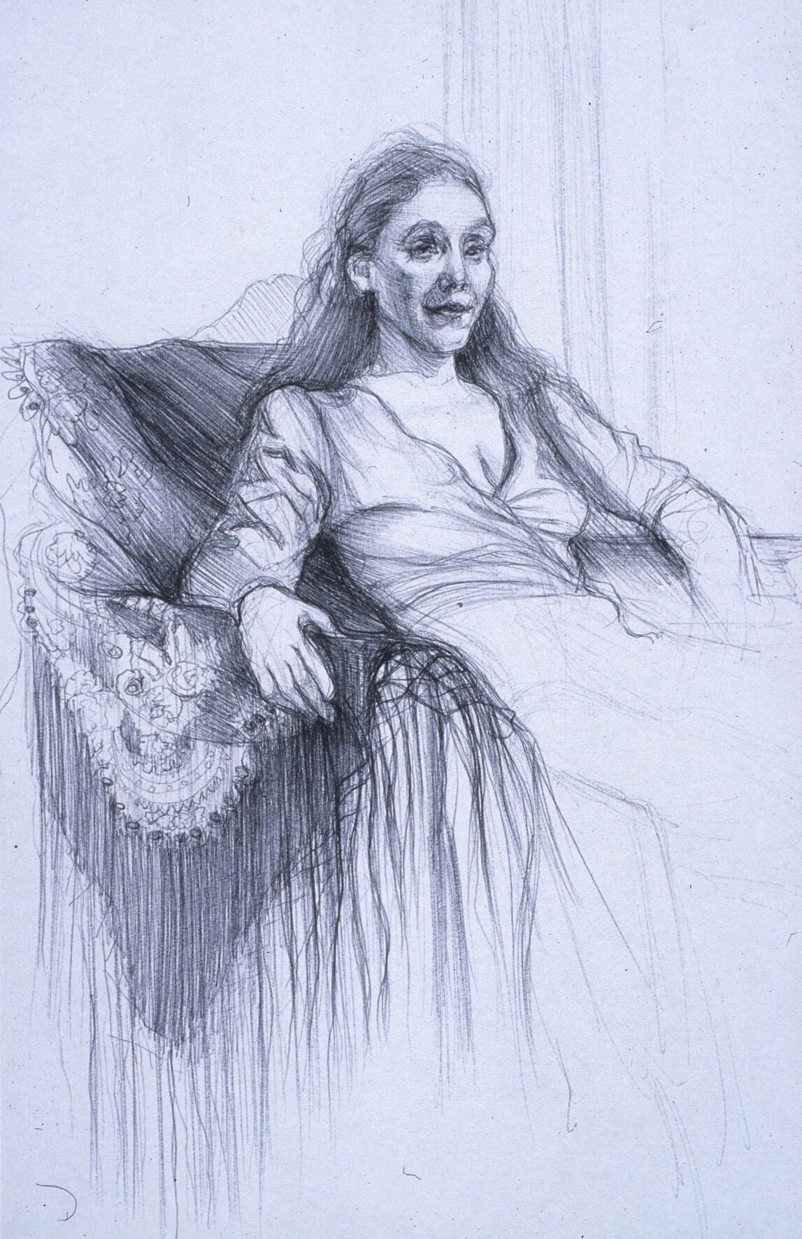 "Lou Ann Burkhardt  Stephanie  , 1999 Pen and ink on paper 13"" x 16"", framed $395"