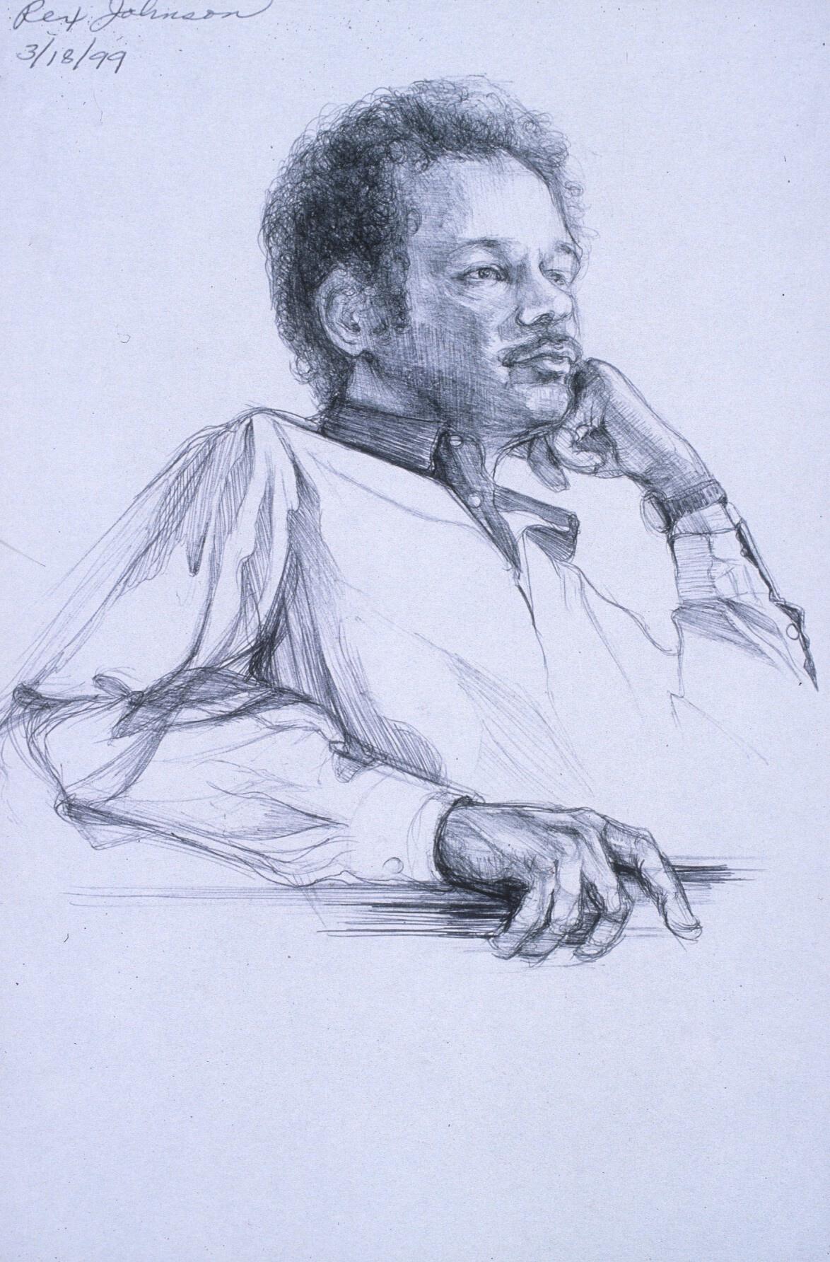 "Lou Ann Burkhardt  Rex J.  , 1999 Pen and ink on paper 13"" x 16"", framed $395"