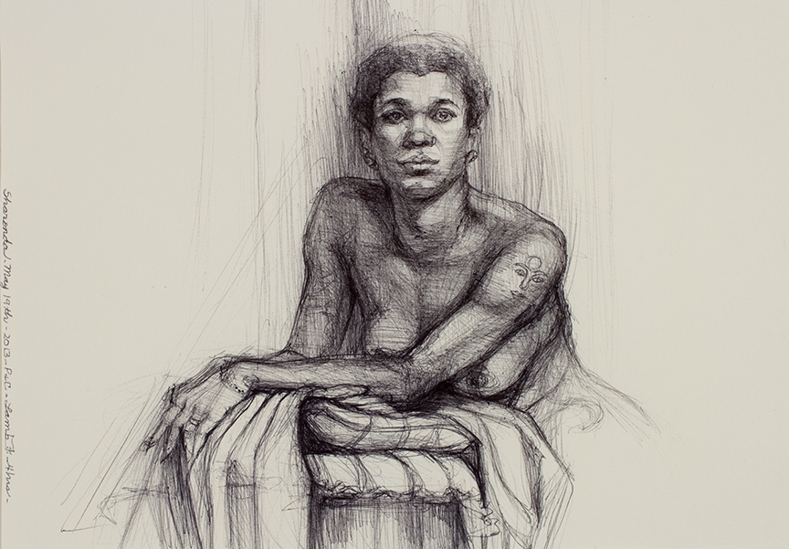 """Lou Ann Burkhardt  Sharonda  , 2013 Pen and ink on paper 12"""" x 15"""", framed $485"""