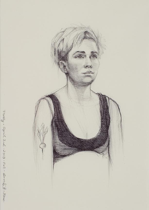 "Lou Ann Burkhardt  Molly  , 2013 Pen and ink on paper 12"" x 15"", framed $485"