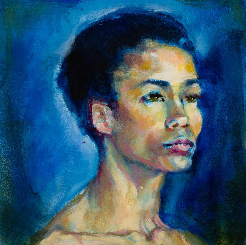 "Lou Ann Burkhardt  Kristin in Blue  , 2013 Oil on wooden block 5"" x 5"""