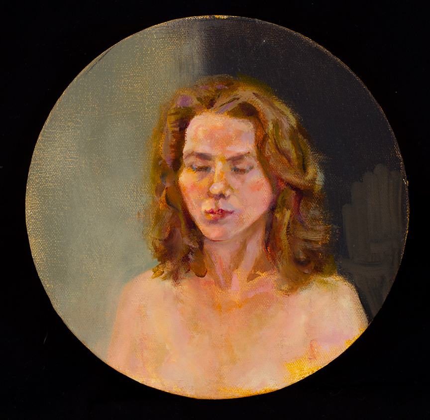 "Lou Ann Burkhardt  Head Study of Model  , 2010 Oil on canvas 8"" in circumference"