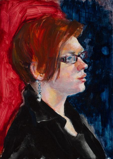 "Lou Ann Burkhardt  Kristin: Head Study  , 2010 Oil on wood panel 5"" x 7"""