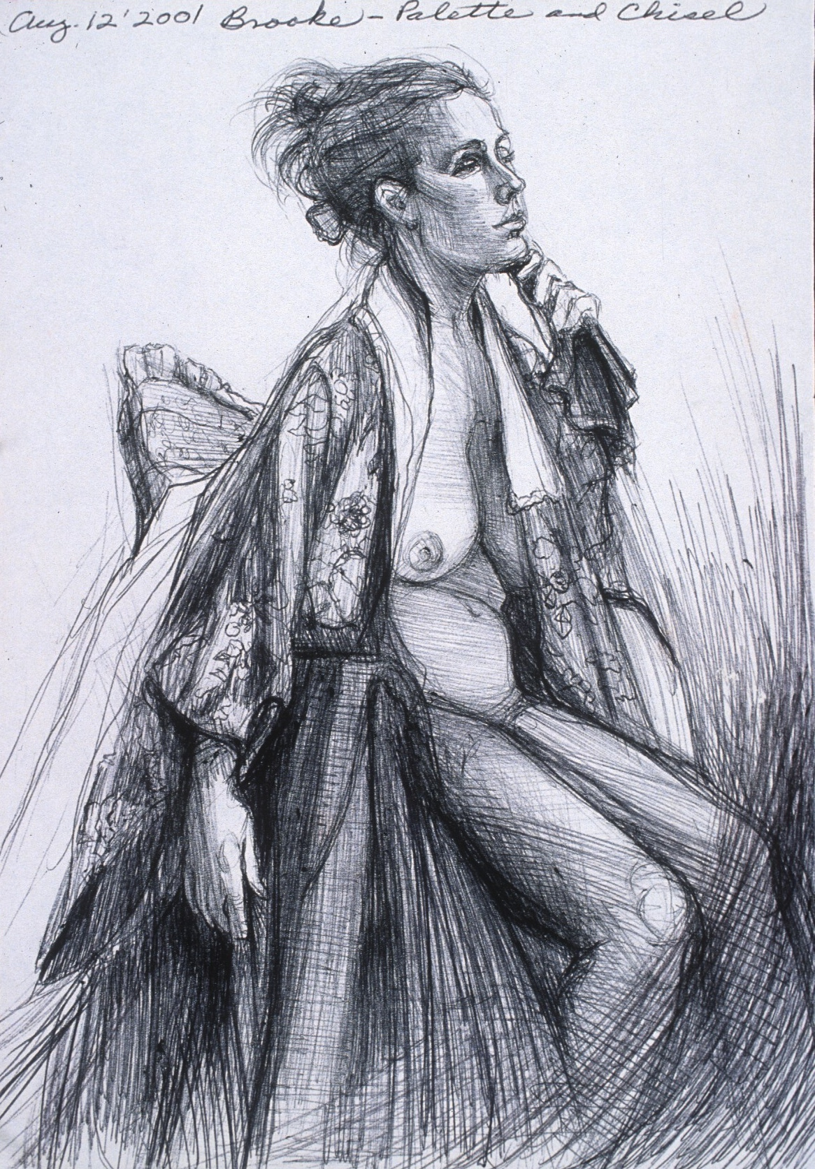"Lou Ann Burkhardt  Brooke  , 2001 Pen and ink on paper 13-1/2"" x 16-1/2"" framed"