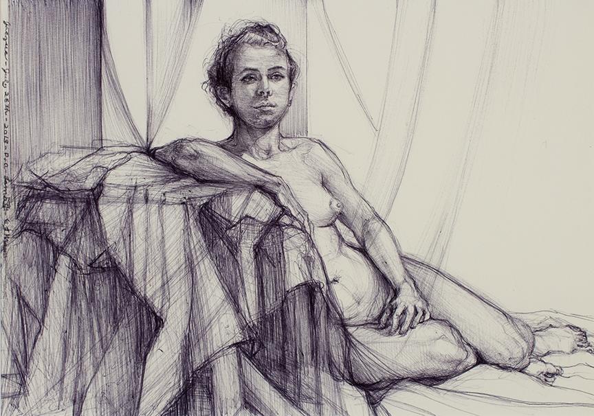 "Lou Ann Burkhardt  Jacqua  , 2013 Pen and ink on paper 12"" x 15"" framed"
