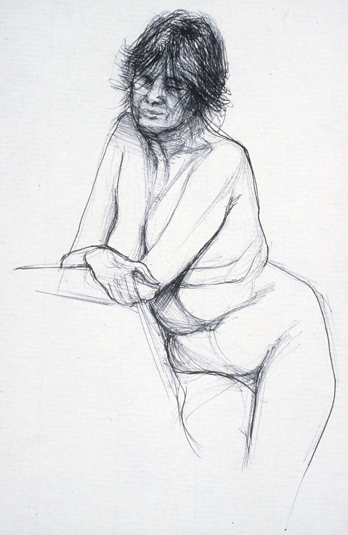 """Lou Ann Burkhardt  Kate ,  2002 Pen and ink on paper 11"""" x 14"""" framed"""