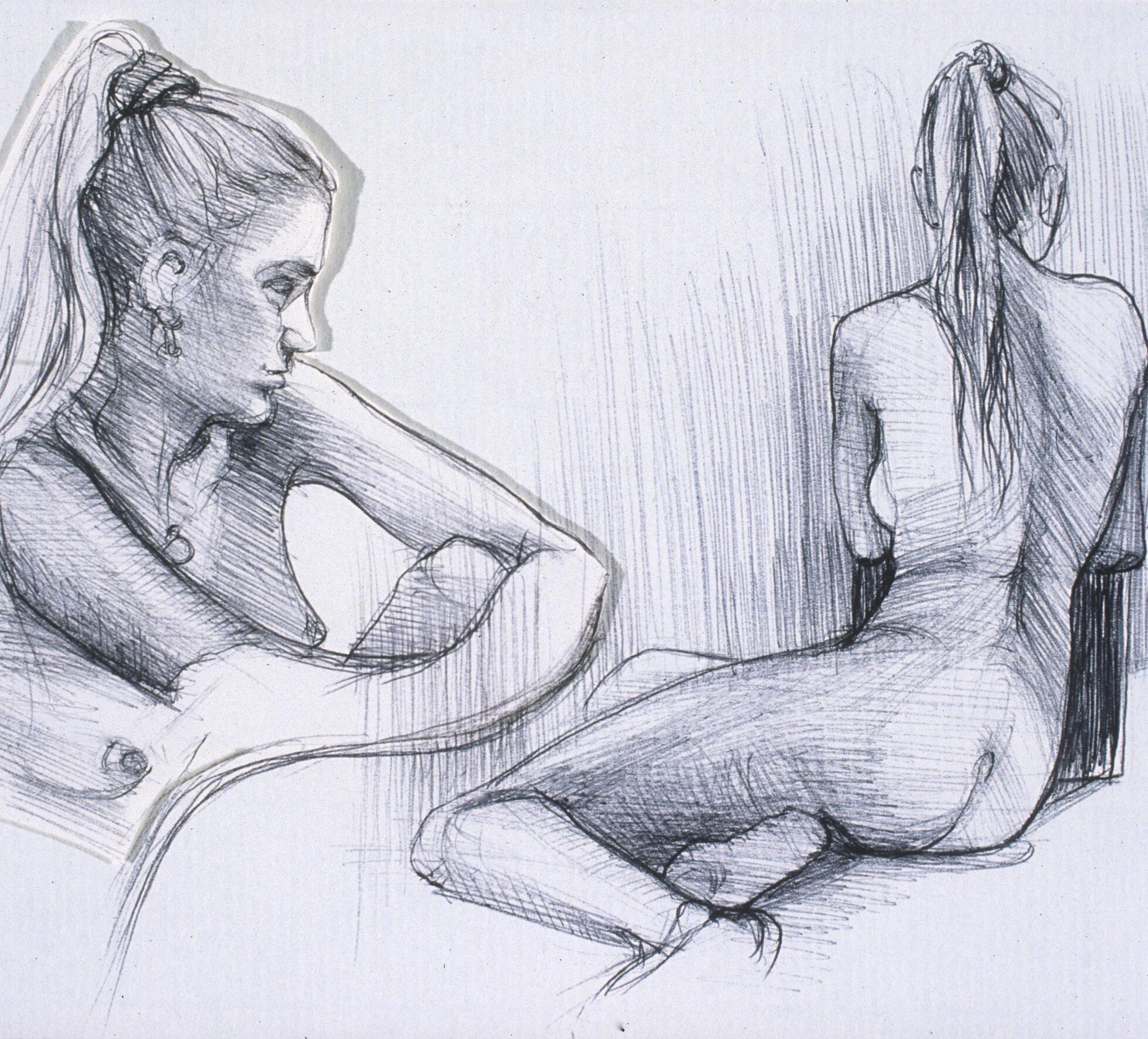 "Lou Ann Burkhardt  Katie ,  2002 Pen and ink on paper 13"" x 16"" framed"