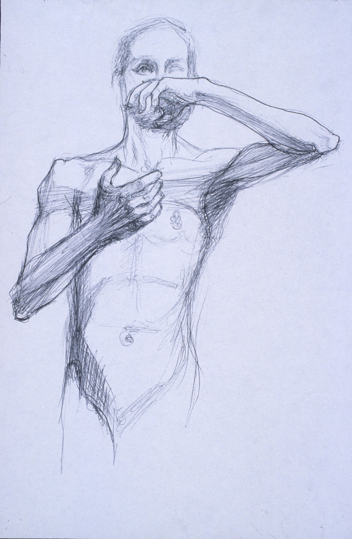 "Lou Ann Burkhardt  Michael  , 1999 Pen and ink on paper 13"" x 16"" framed"