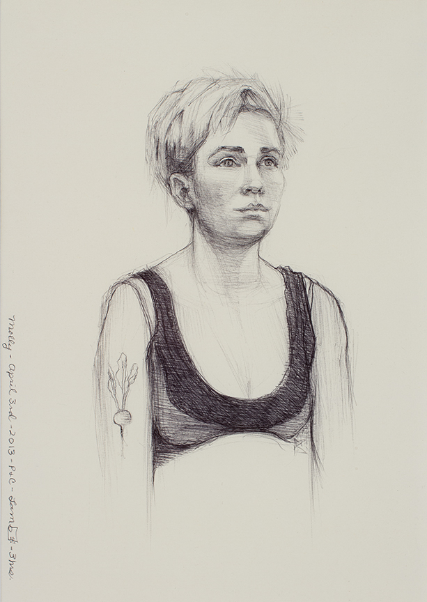 "Lou Ann Burkhardt  Molly  , 2013 Pen and ink on paper 12"" x 15"" framed"
