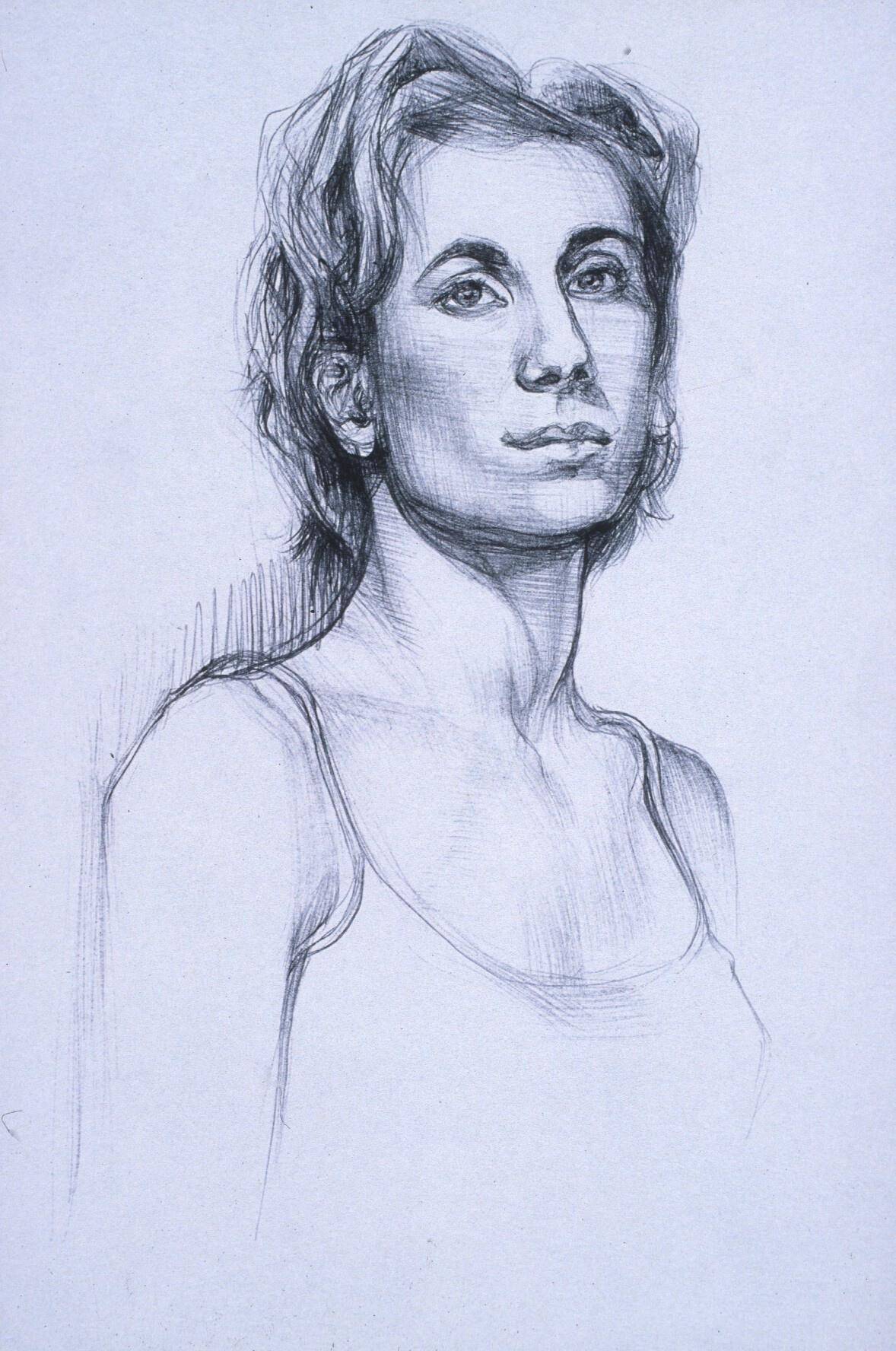 """Lou Ann Burkhardt  Nadine  , 1999 Pen and ink on paper 13"""" x 16"""" framed"""