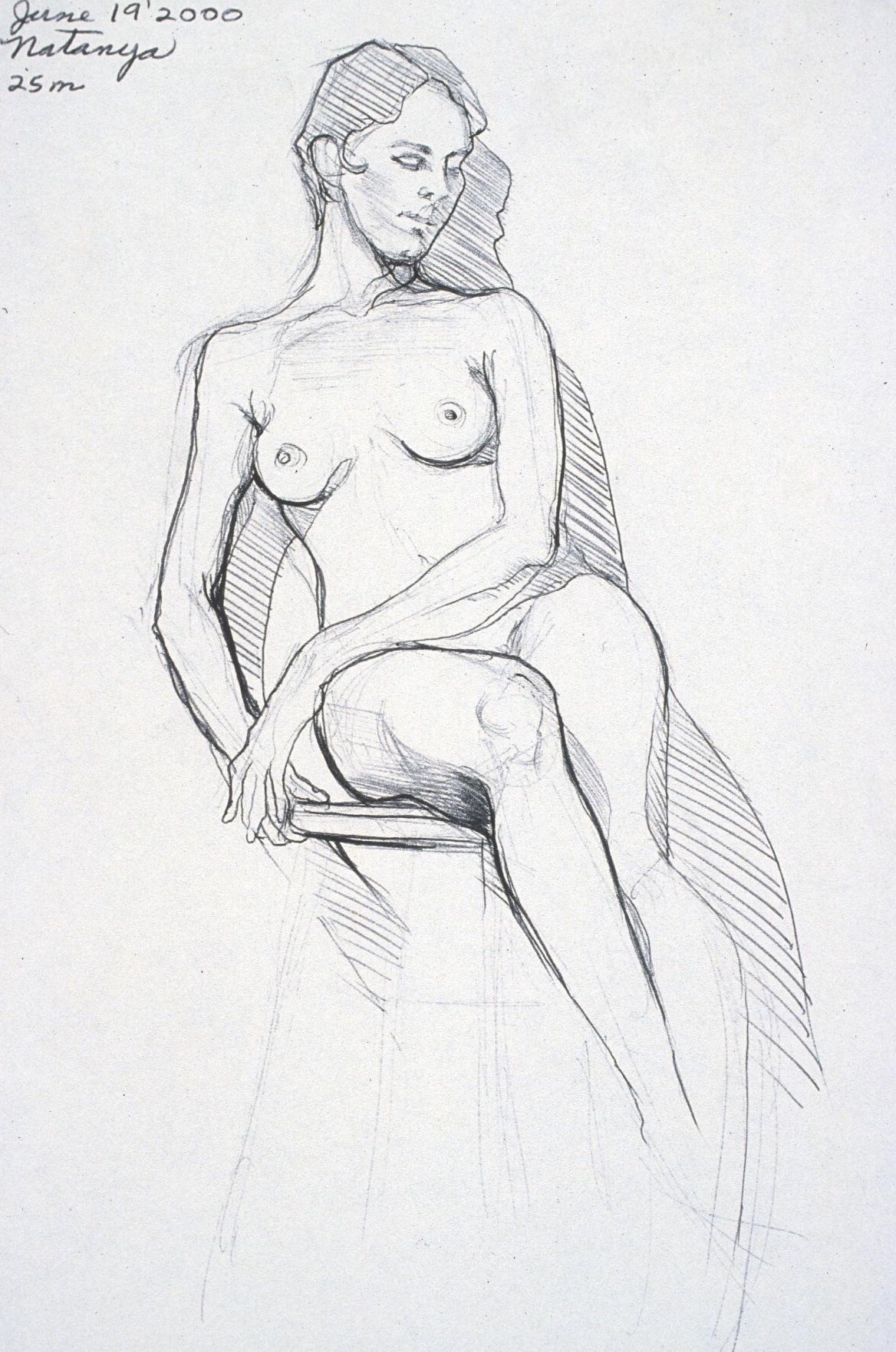 """Lou Ann Burkhardt  Natanya ,  2000 Pen and ink on paper 11"""" x 14"""" framed"""