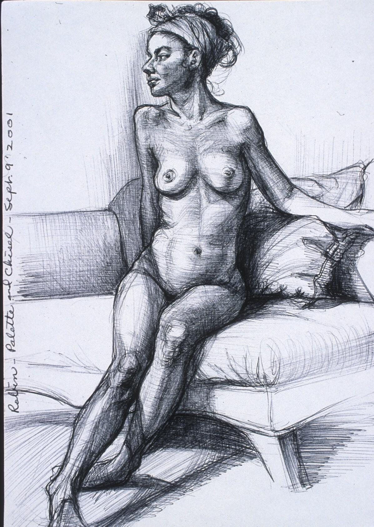 """Lou Ann Burkhardt  Robin  , 2001 Pen and ink on paper 13-1/2"""" x 16-1/2"""" framed"""