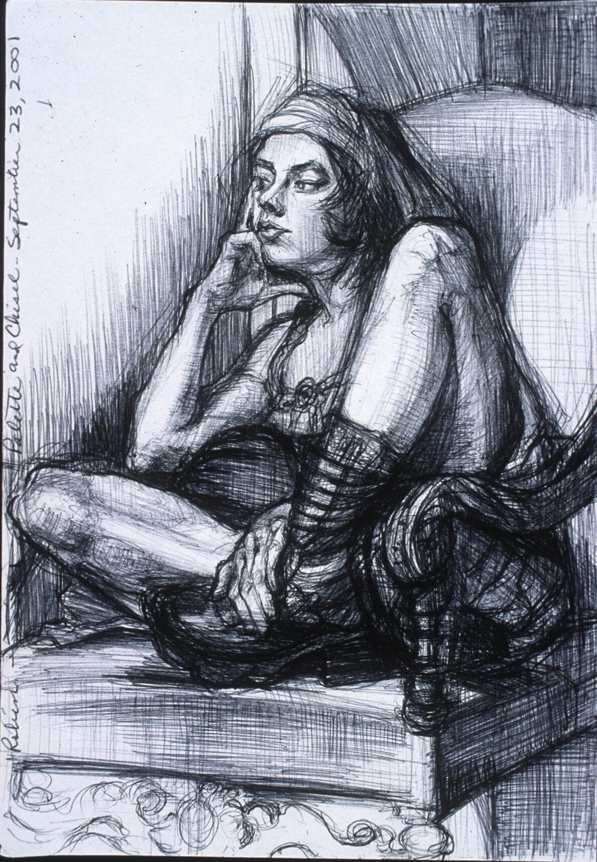"""Lou Ann Burkhardt  Robin   , 2001 Pen and ink on paper 16-1/2"""" x 13-1/2"""" framed Giclee prints available, priced by size"""