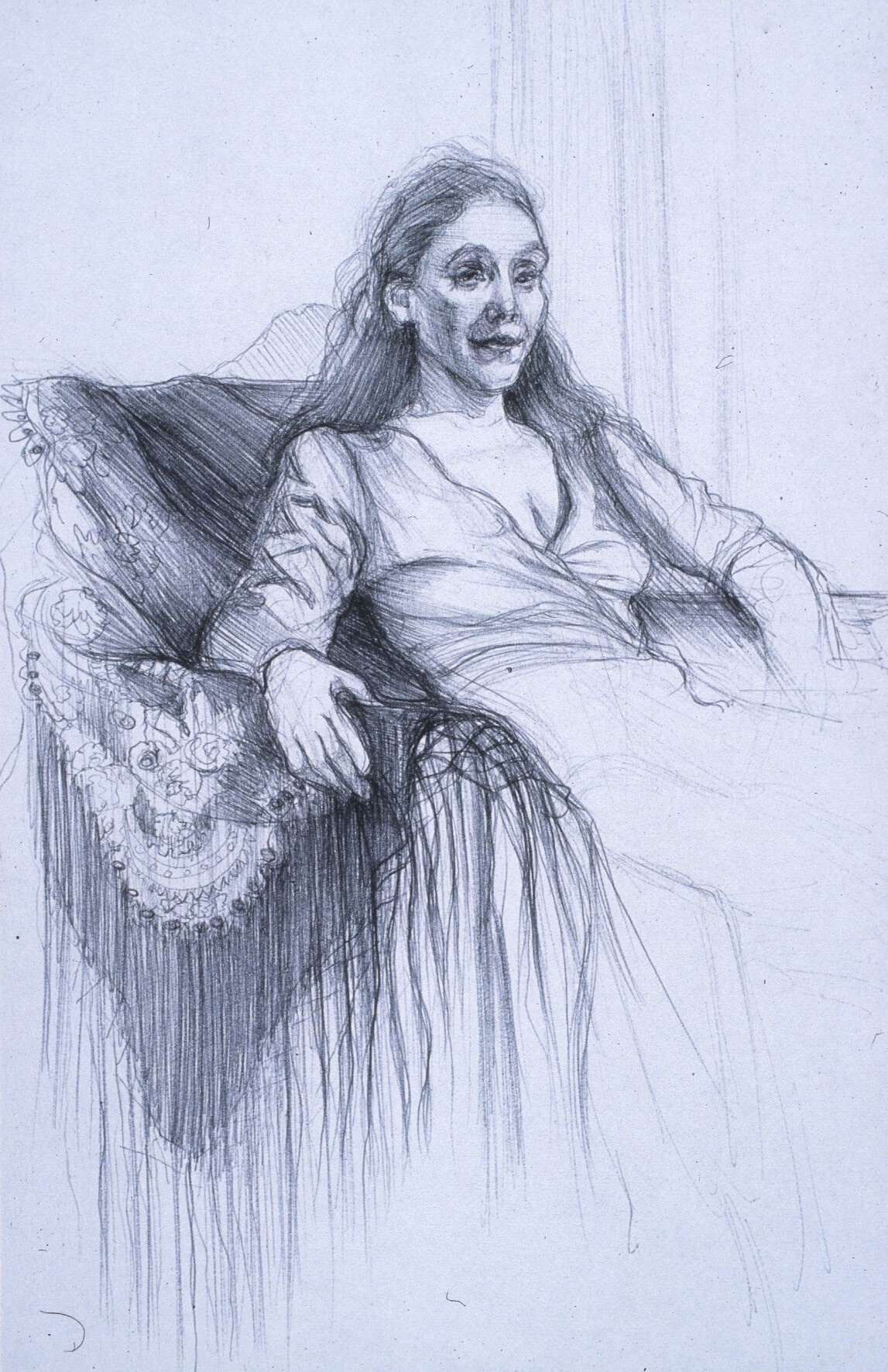 "Lou Ann Burkhardt  Stephanie  , 1999 Pen and ink on paper 13"" x 16"" framed"