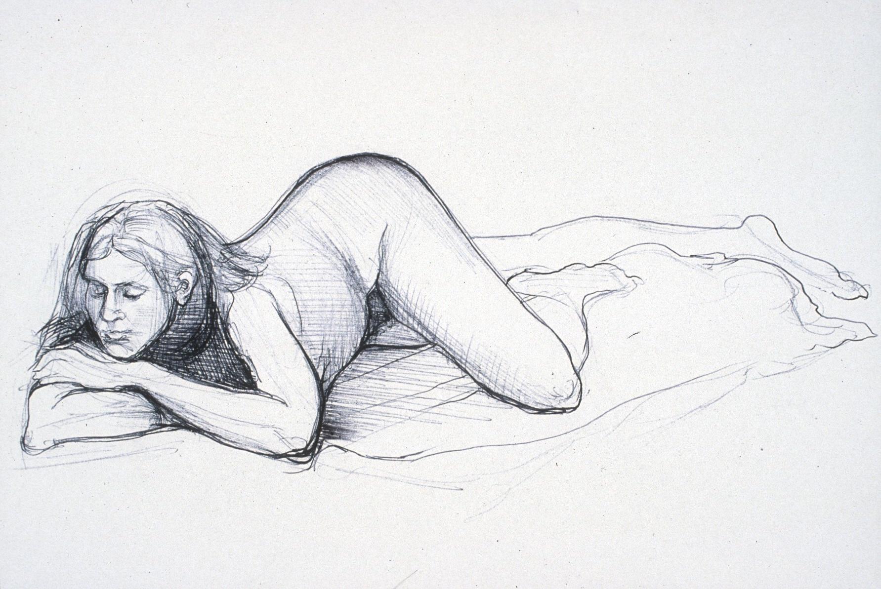 "Lou Ann Burkhardt  Untitled ,  2002 Pen and ink on paper 11"" x 14"" framed"