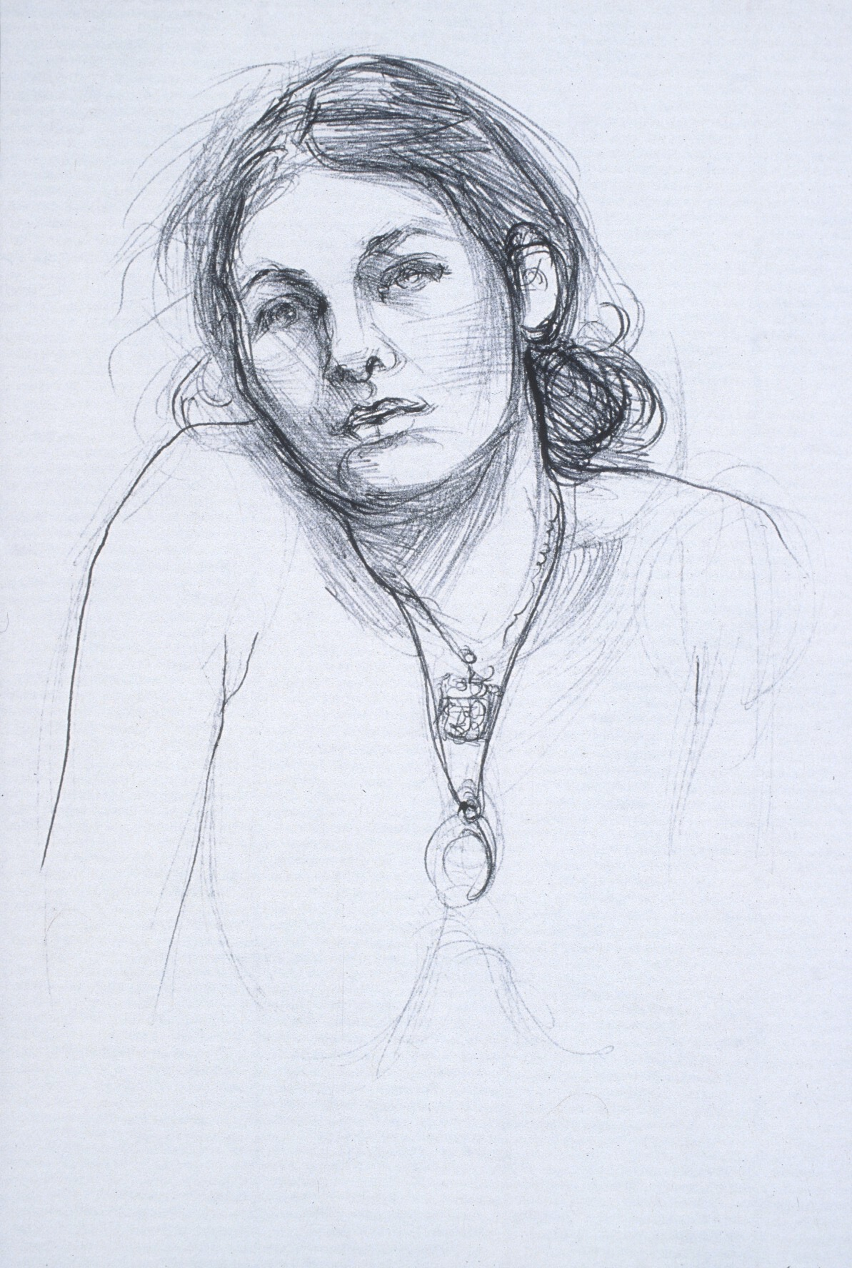 "Lou Ann Burkhardt  Cara   ,  2002 Pen and ink on paper 11"" x 14"" framed"