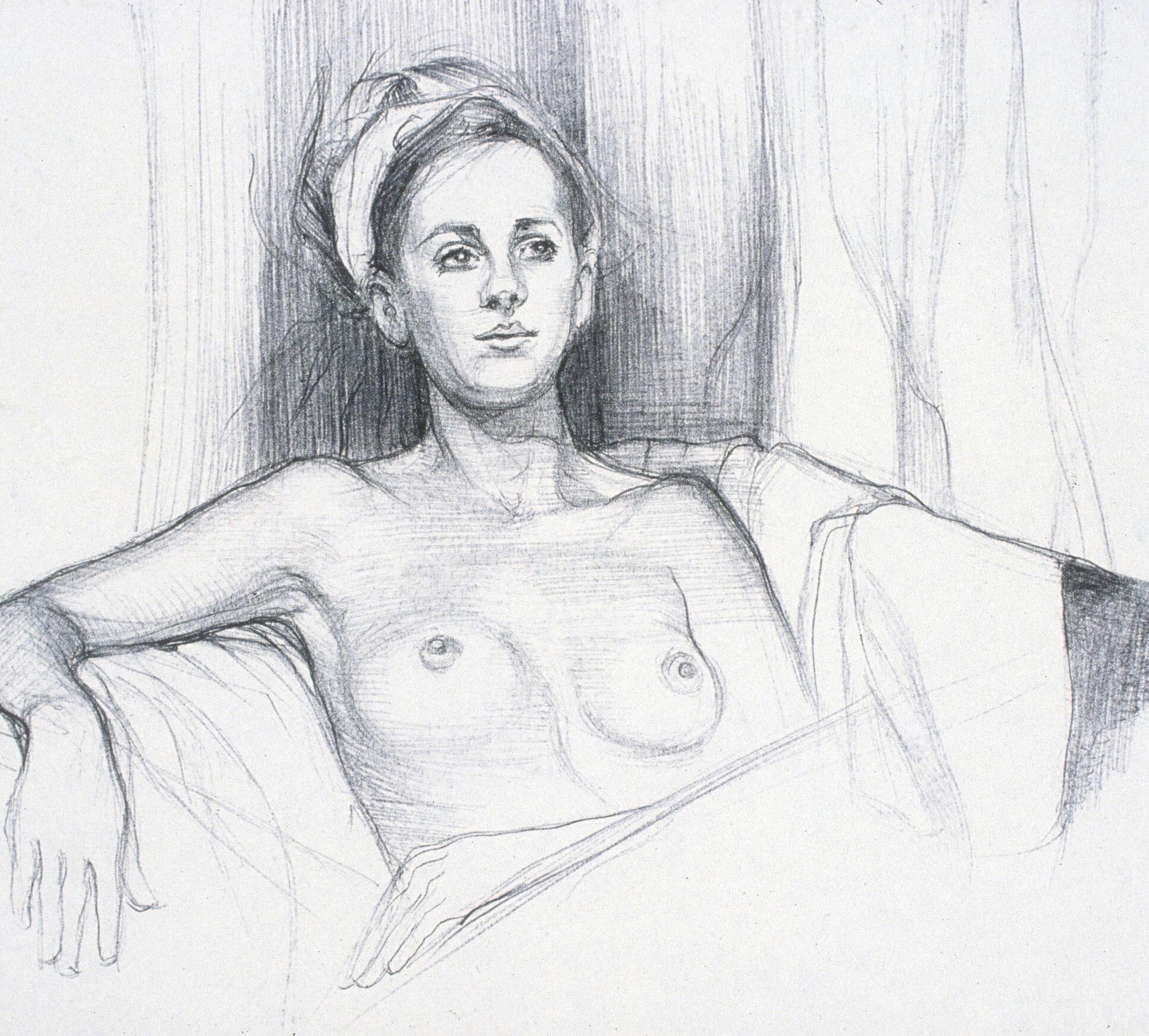 """Lou Ann Burkhardt  Annika   ,  2001 Pen and ink on paper 11"""" x 14"""" framed"""