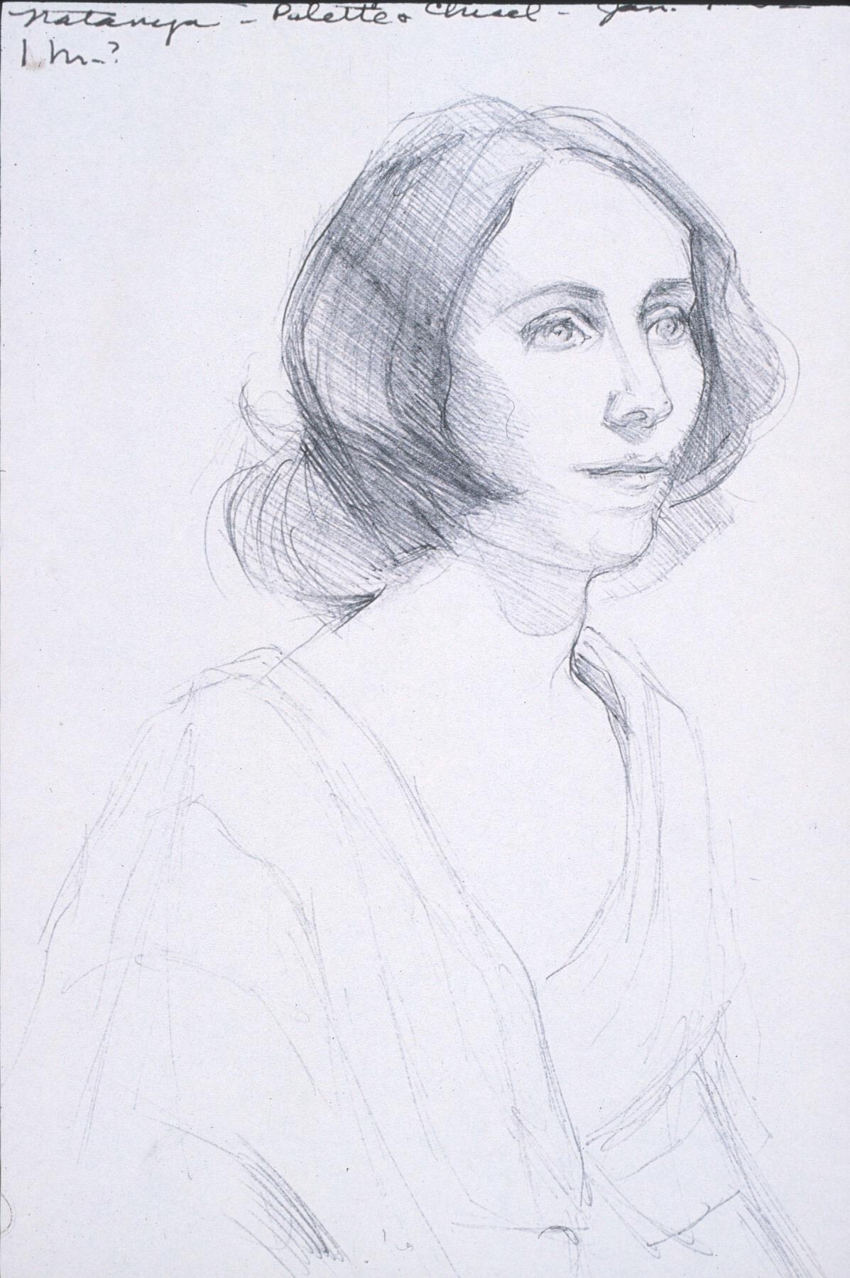 """Lou Ann Burkhardt  Natanya,     2002   Pen and ink on paper  11"""" x 14"""" framed"""