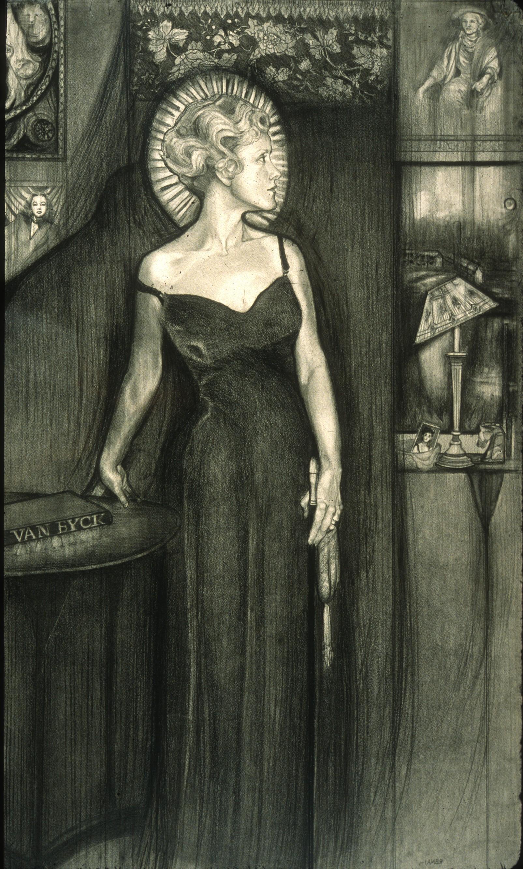 "Lou Ann Burkhardt  Lady Jane's Destiny   ,  1998 Graphite on paper 24 -1/2"" x 40"" framed Giclée prints available Size and price options vary"