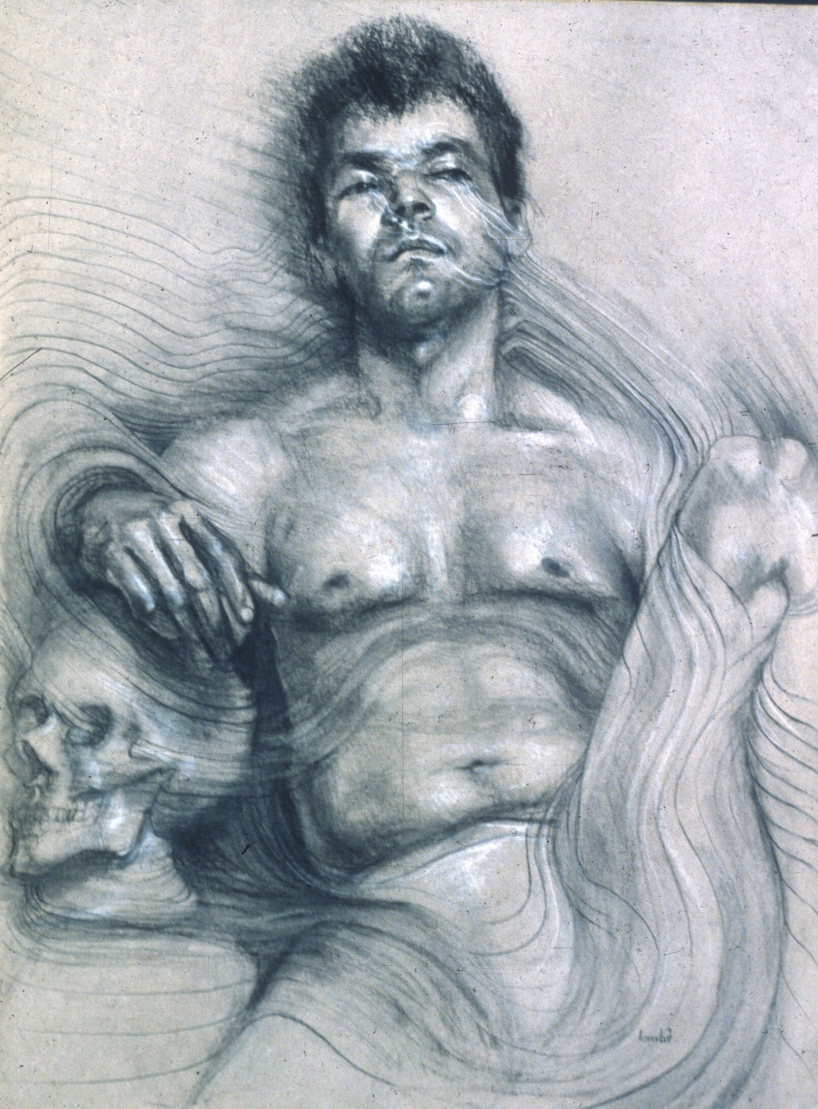 """Lou Ann Burkhardt  To the Music: I Will Arise and Go to Jesus   ,  1980 Charcoal and white chalk on toned paper  29"""" x 35"""" framed"""