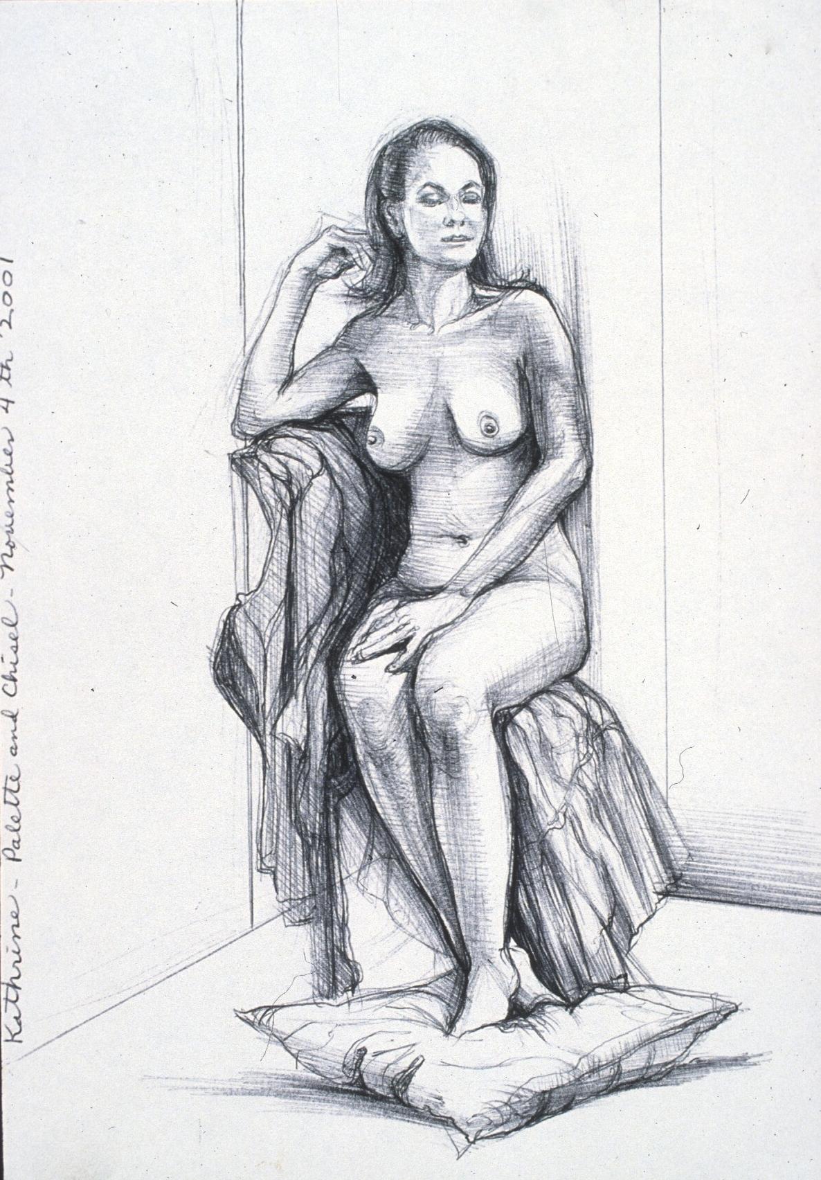 """Lou Ann Burkhardt  Kathrine  , 2001 Pen and ink on paper 11"""" x 14"""" framed"""