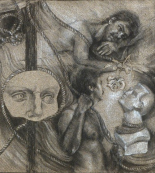 """Lou Ann Burkhardt  Reflections of T. A.     Charcoal on paper 24"""" x 8'"""