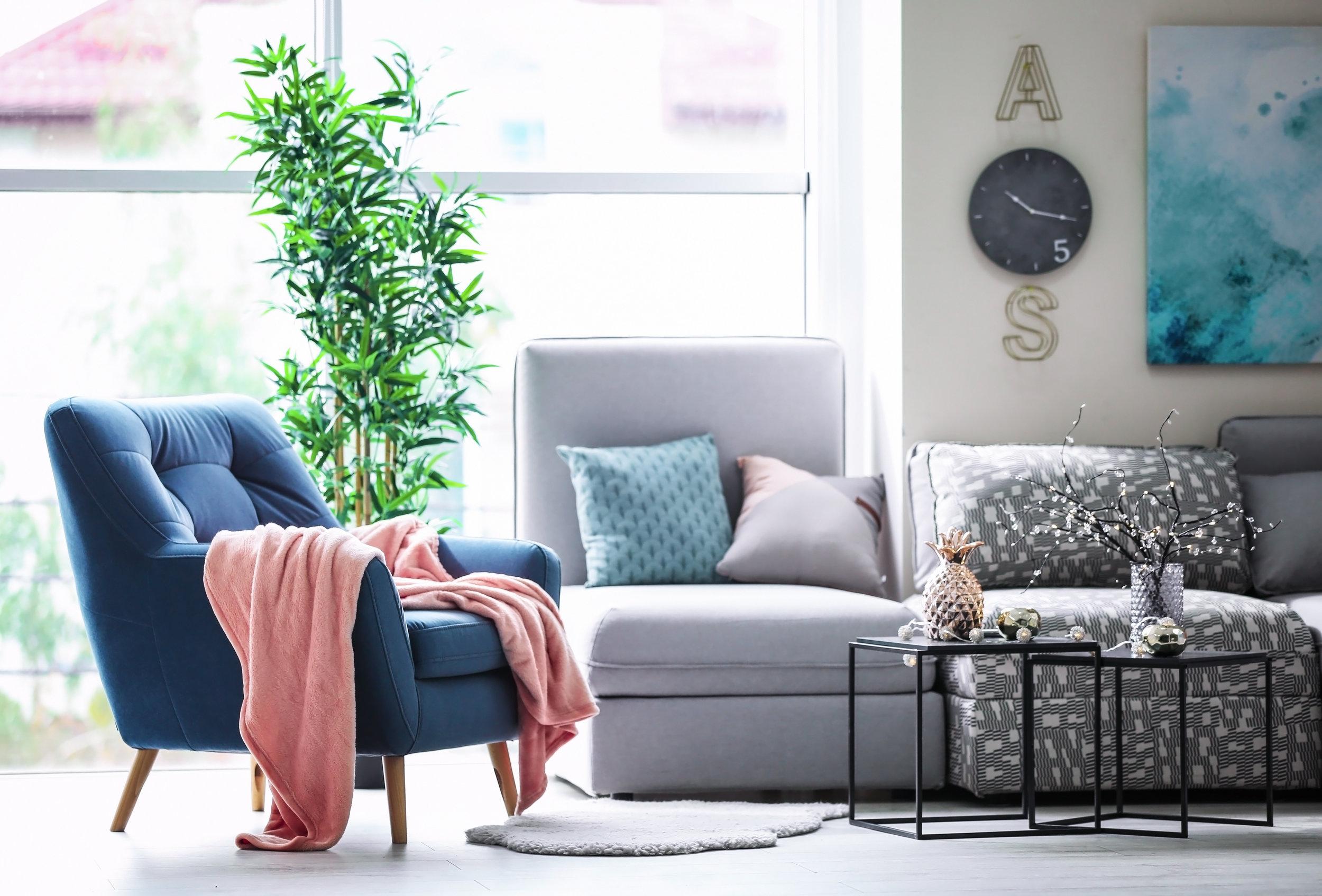 blue tone living room