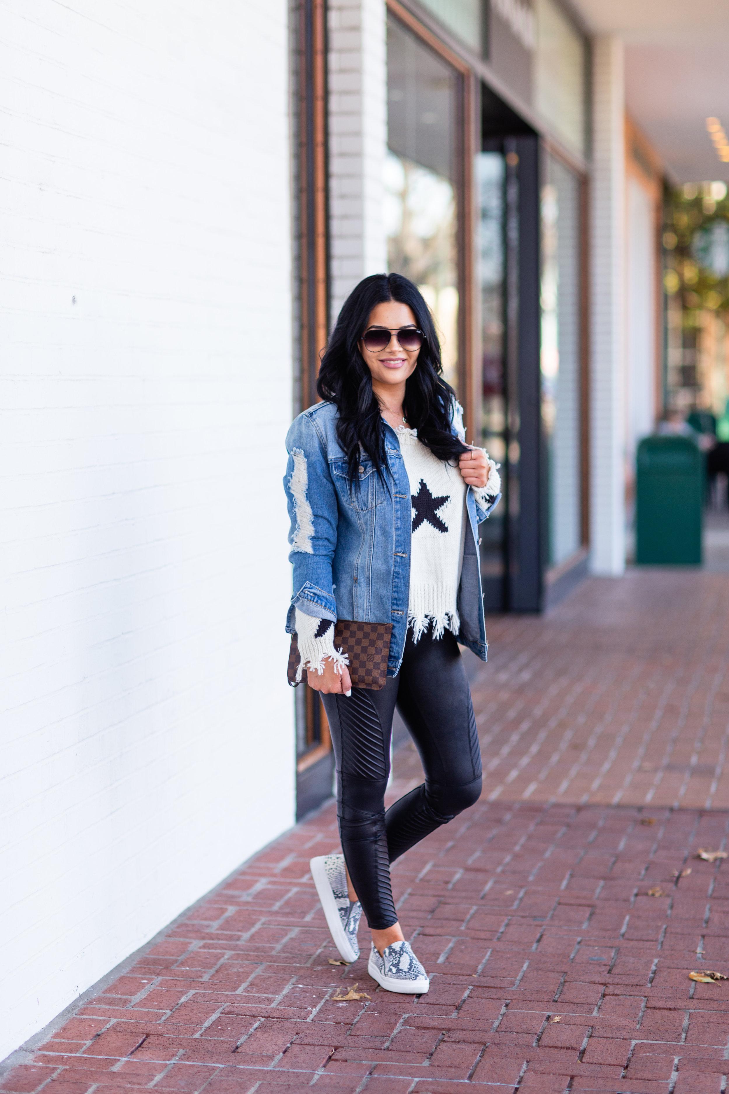 Running In Stilettos Blog - Star Sweater + Moto Leggings