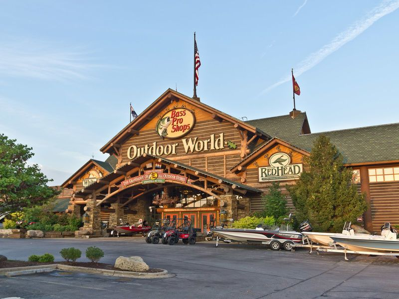 BASS PRO SHOP WORLD HEADQUARTERS - SPRINGFIELD, MO   Think BIG. Now think even bigger! The original Bass Pro Shops Outdoor World location in our hometown of Springfield, Mo. is affectionately known as  The Grandaddy of All Outdoor Stores® . This massive outdoor-themed experience is the number one tourist destination in Missouri attracting four million families, sportsmen and outdoor enthusiasts every year. Boasting nearly 500,000 square-feet of immersive shopping fun, the Grandaddy offers visitors with one of the largest assortments of outdoor gear, apparel and gifts under one roof.