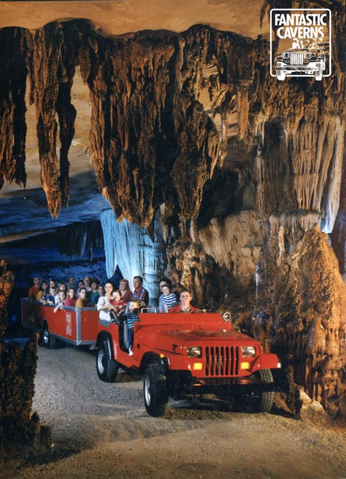 """FANTASTIC CAVERNS - SPRINGFIELD, MO   In the 1950s, the name Fantastic Caverns was adopted. The first """"Ride-Thru"""" tour at Fantastic Caverns was given in 1962. Prior to that, visitors toured the cavern on foot. By 1967, visitation to the cave had grown to a level that it was difficult to host events and the show """"Farmarama"""" was canceled. With the focus being on cave tours, improvements were made to the tour route, and in the early 1970s cave lighting expert Roy Davis installed the  cavern lighting system , which was upgraded to LED lighting in 2017. The Campbell family has managed the property since 1966 and in 1992 they purchased Fantastic Caverns."""