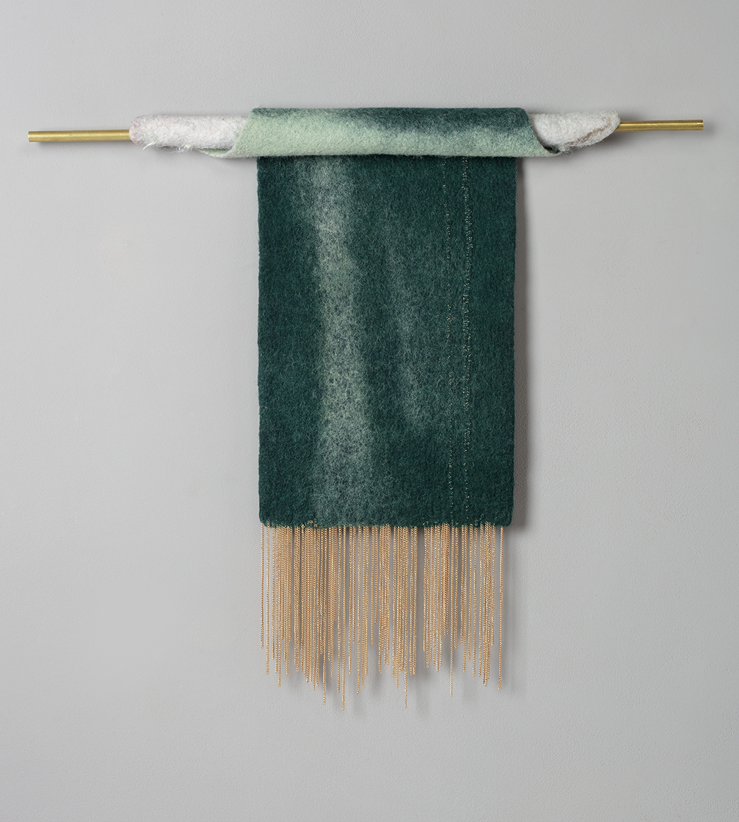 Viridian Wave   wool and silk chiffon with brass fringe 12 in. x 18 in.