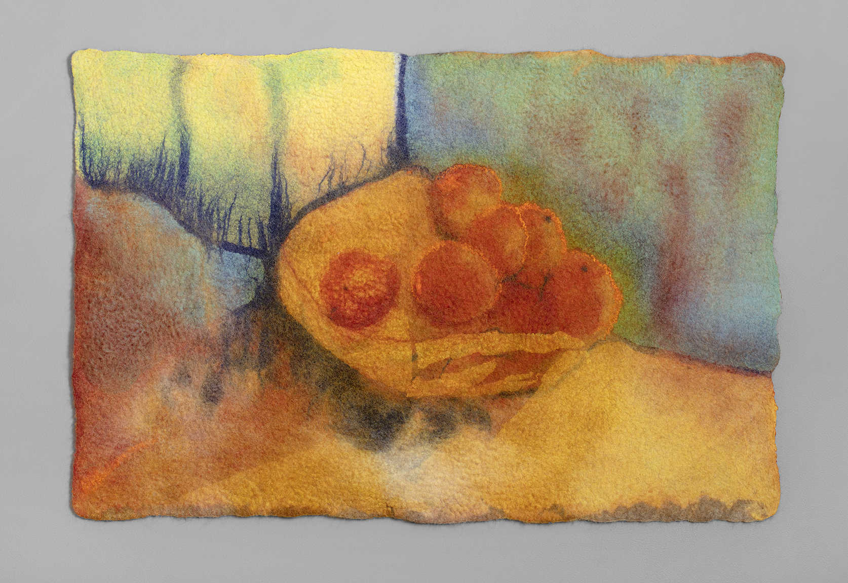 Interpretation of Vincent's Oranges  wool and silk chiffon 26 in. x 31 in.