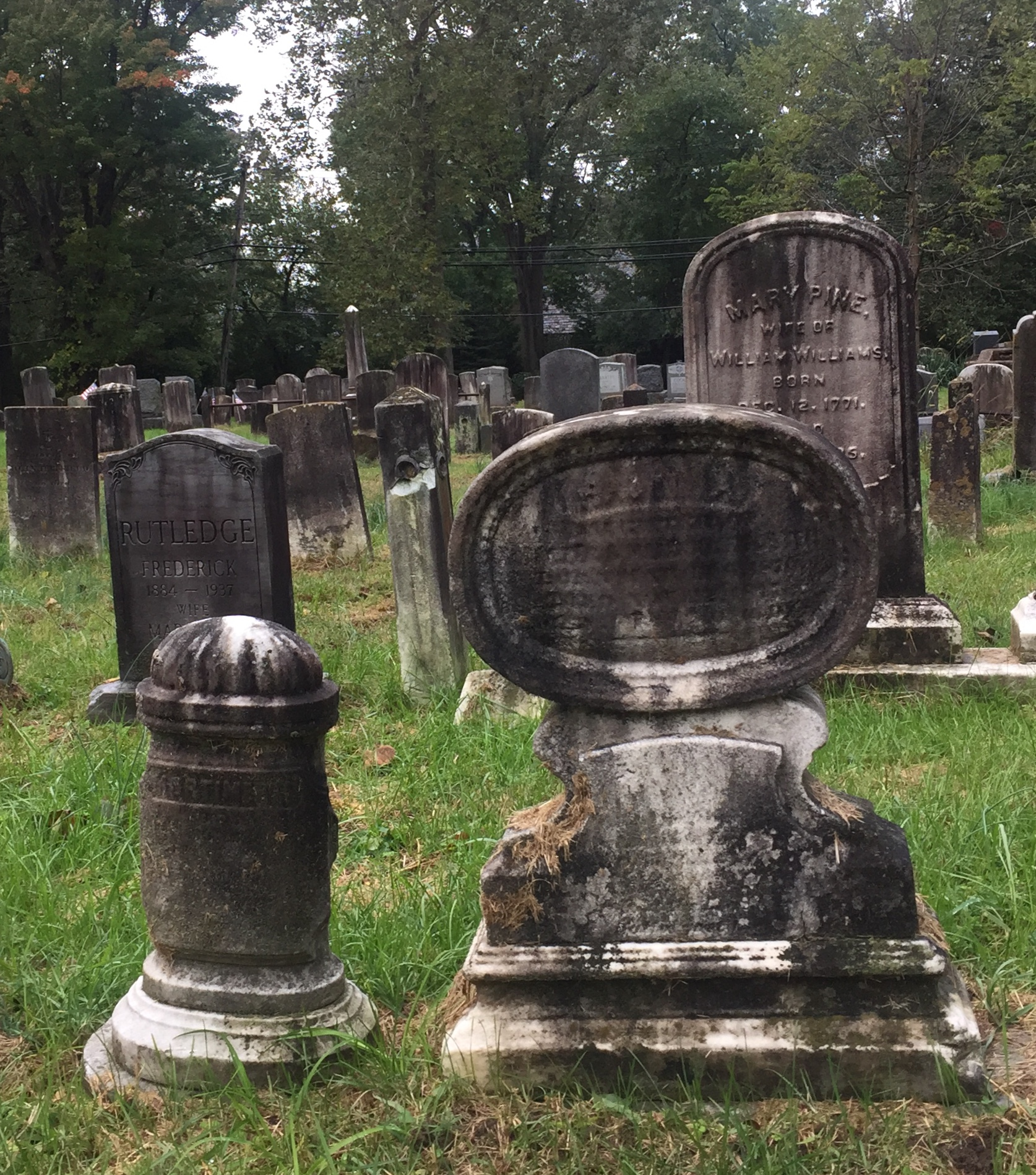 Before - Years of dirt accumulated on Sparta Cemetery headstones.