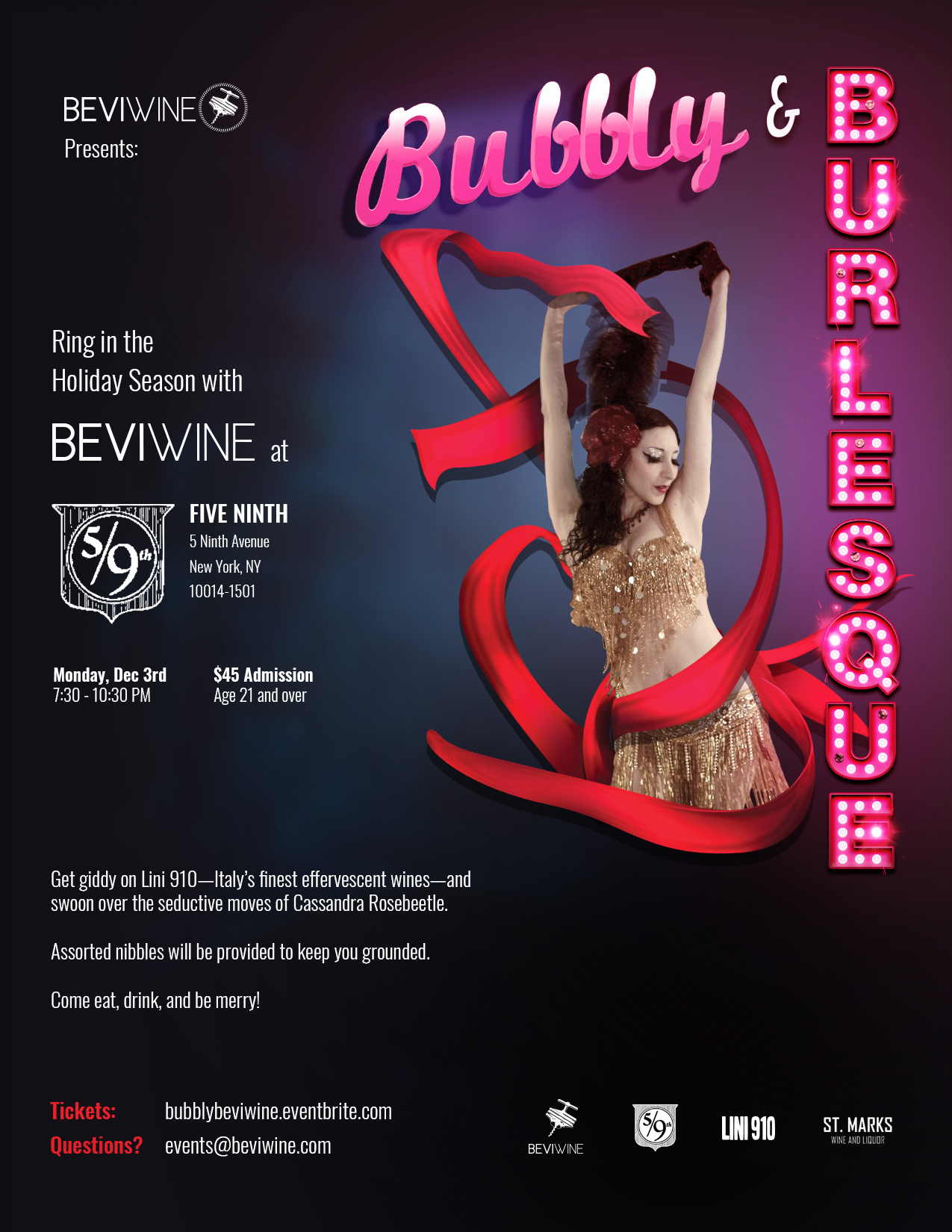 Poster design for a Burlesque event, a partnership with 5 Ninth and Lini 910.