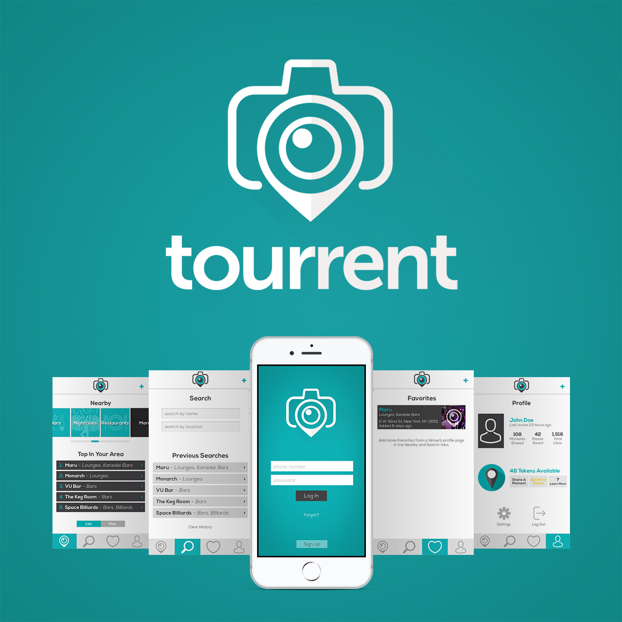 Tourrent Mobile App and Brand Identity