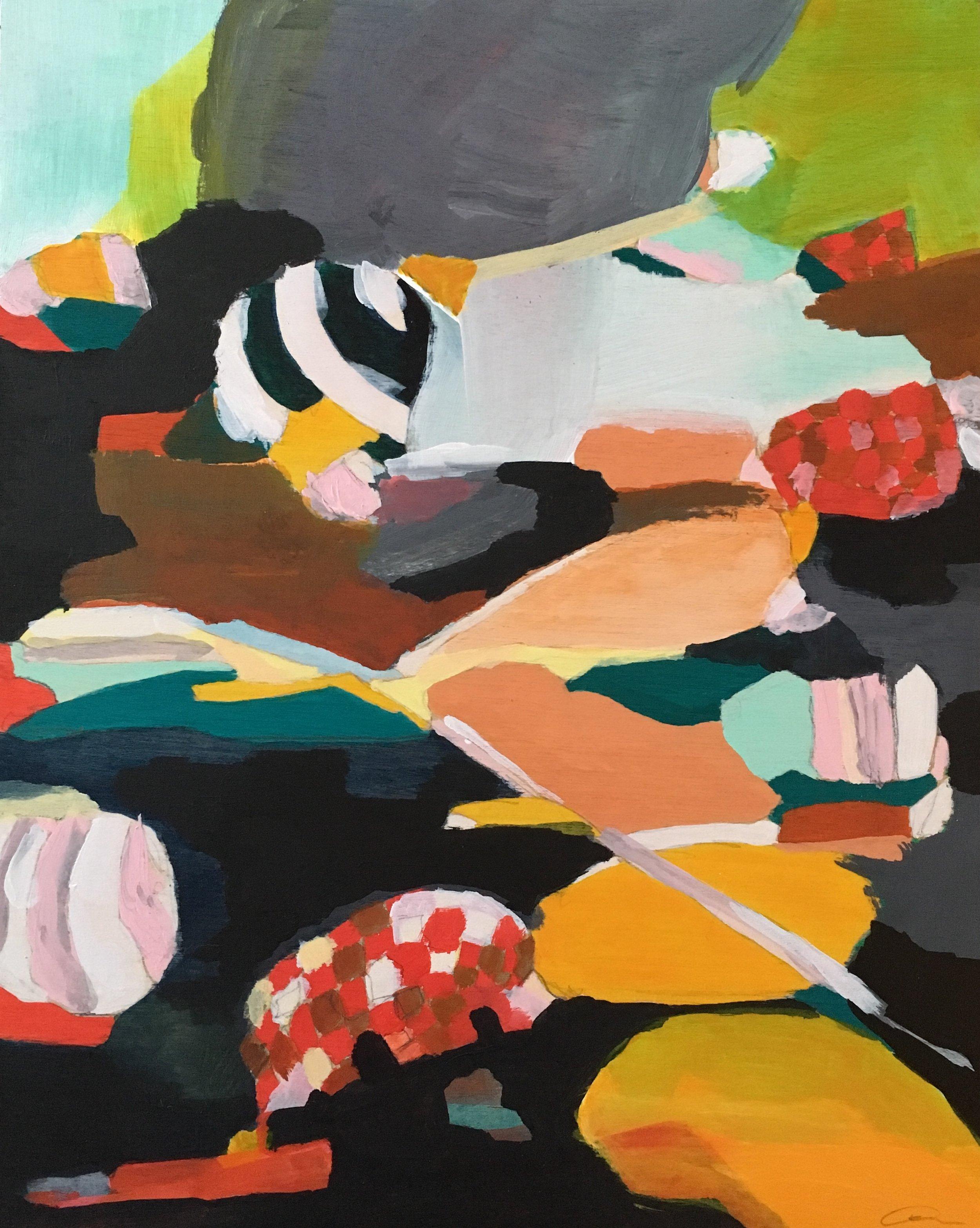 "Golden Road   10"" x 8""  Acrylic, Ink, Graphite, on birch panel  2019"