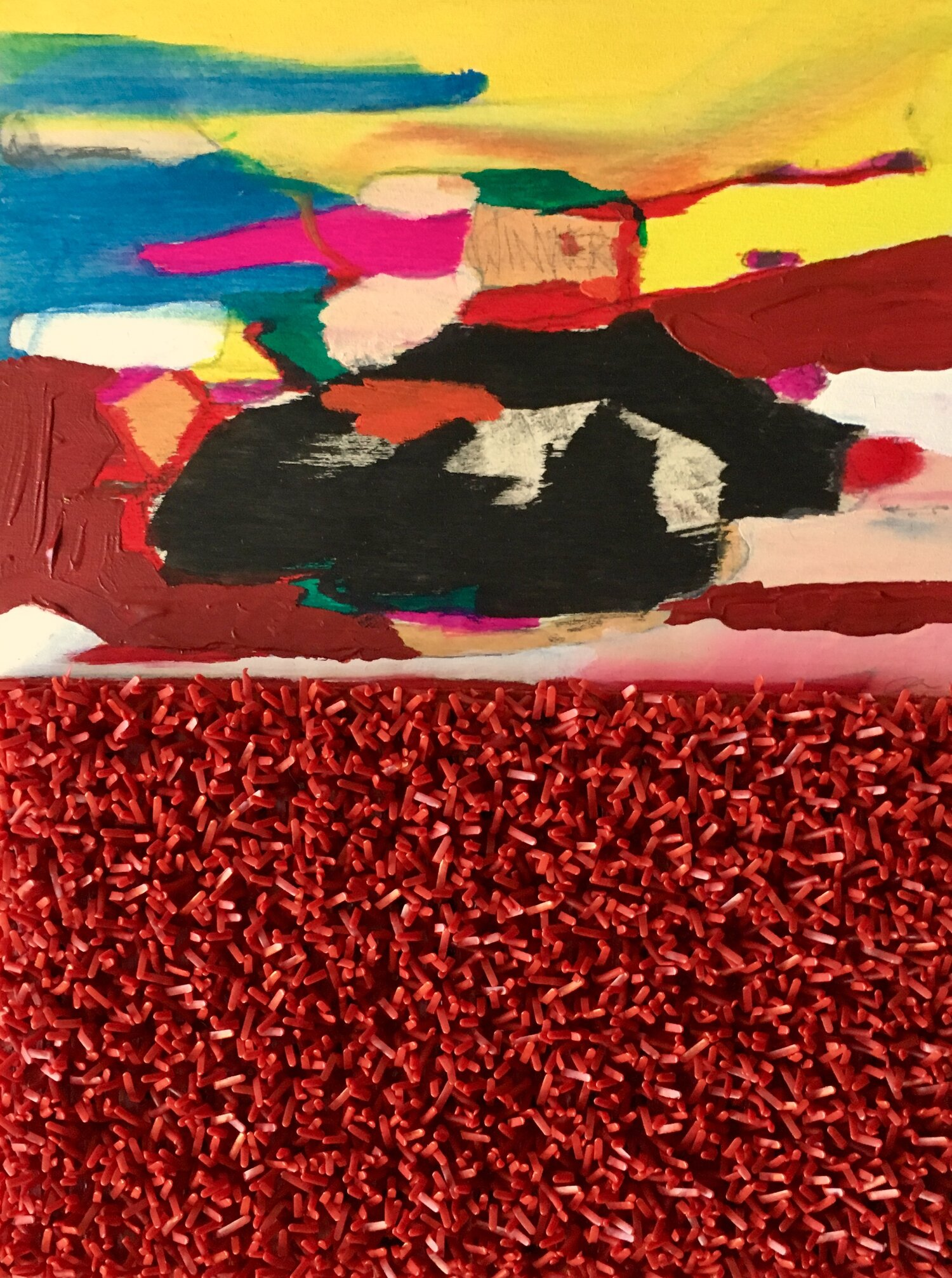 """Heart On A Wire  Mixed Media on panel  12"""" x 9"""""""