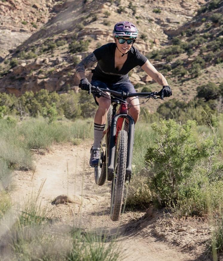 Mountain bike rider on the Trust Suspension fork