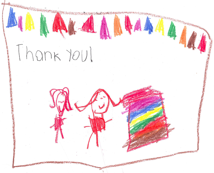 A Student at Frierson Elementary School Thanks MWL for a Gifted Blanket