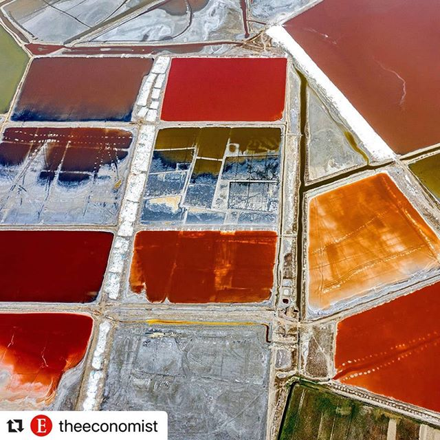 next issue we are hiring a helicopter to fly over salt ponds 🤞(but truly, how fascinating are the colors from algae and minerals in these salt evaporation ponds? Think this is Yanchi) h/t @losowsky  #Repost @theeconomist ・・・ An aerial photo shows the salt lake in Yuncheng City, Shanxi Province, China, June 11th 2019. Credit: PA/Xinhua/Xue Jun #saltlake