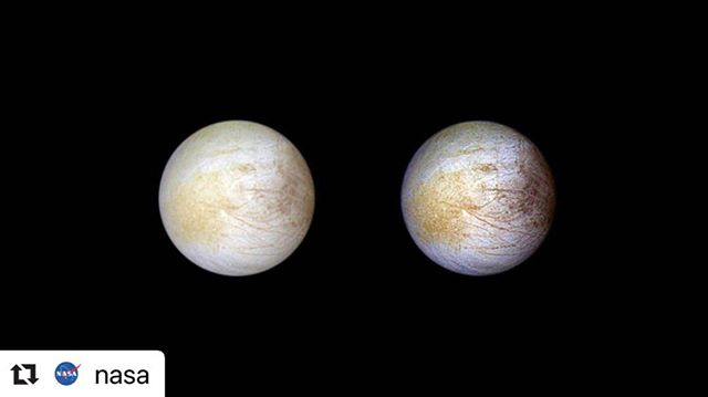 🔭 very interested in Jupiter now  #Repost @nasa ・・・ Feeling a little salty about the weekend being too short? 😤 ⁣ ⁣ If so, you're not alone when it comes to #SaltyVibes. The yellow color visible on the surface of Jupiter's moon Europa is actually sodium chloride — table salt. ⁣ Flybys from our Voyager and Galileo spacecraft have led scientists to conclude that:⁣ 1️⃣ Europa is covered by a layer of salty liquid water encased in an icy shell⁣ 2️⃣ Europa's ocean may resemble Earth's oceans more than previously thought.⁣ ⁣ Credit: NASA/@NASAJPL/@UArizona ⁣ ⁣ #WeekendMood #OutOfThisWorld #Jupiter #NASA