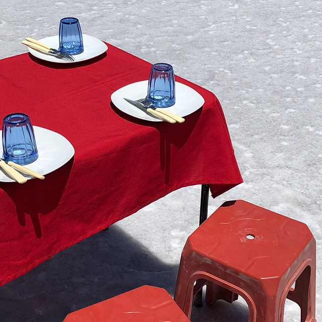 today is #bourdainday, celebrating his goal for all of us who can to travel widely and eat local food of new-to-us places. Not to discover or hype it, but to enjoy, respect, and appreciate the craft in making the food. This is a table set up for lunch on the salt flat in Bolivia, and some of the table research I did for the trout ceviche with leche de tigre (in Chile and Peru), locro (Argentina and Peru), and salteño (in Argentina) – I tried multiple versions and talked to cooks before honing the final recipe versions in the Salty Project magazine. (I'm grateful for Brooklyn friends that came over to recipe-test.) Thank you, Anthony Bourdain, for the words and the episodes and your gusto. –KT