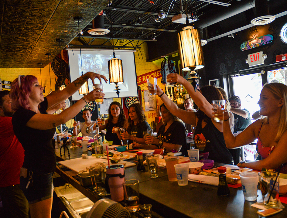 Sushi class and sake bombs! Photography by Matt Arico.